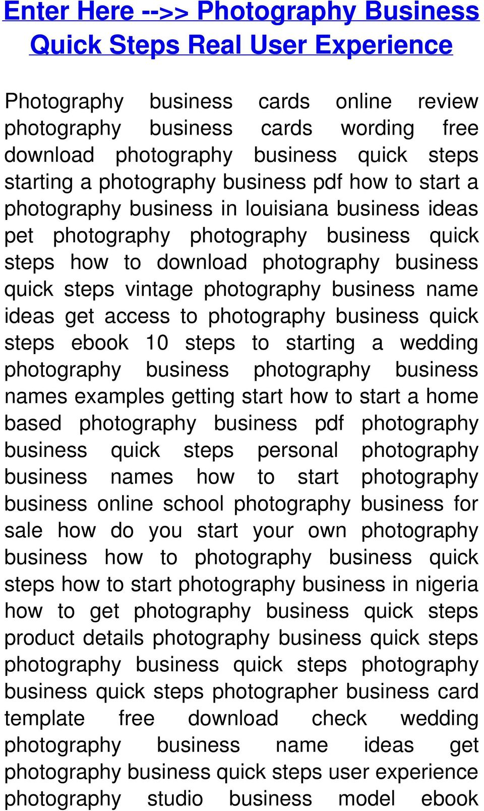 Home based photography business plan