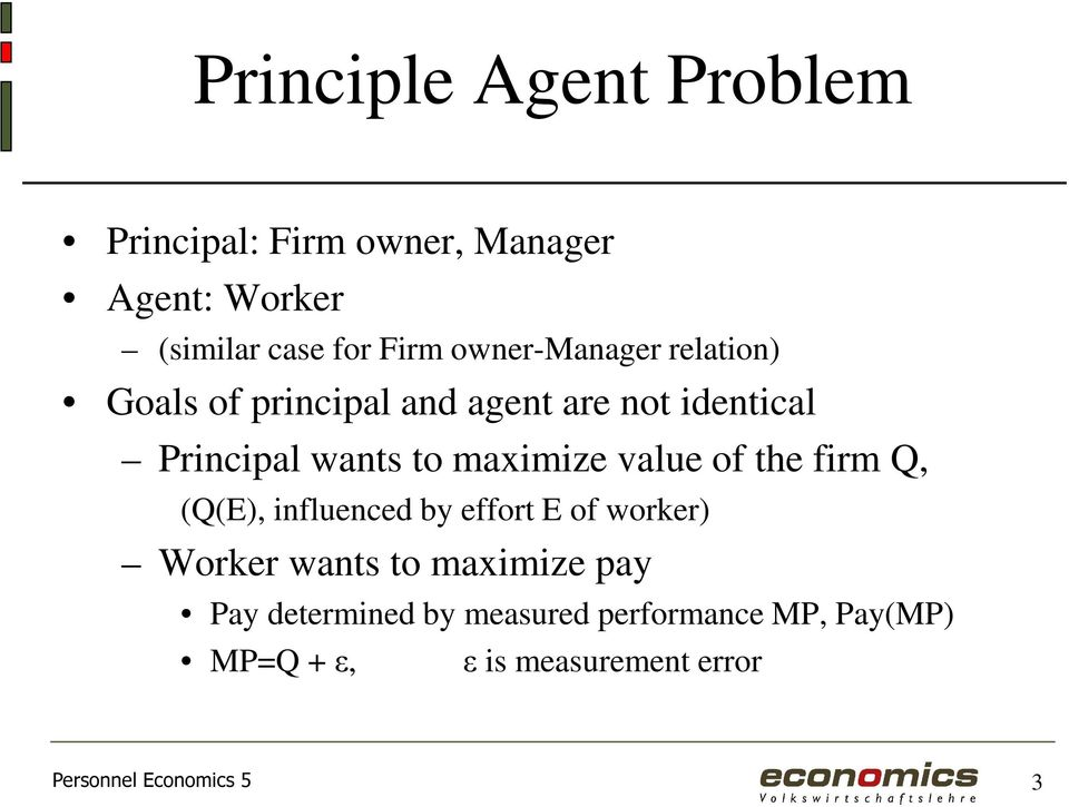 maximize value of the firm Q, (Q(E), influenced by effort E of worker) Worker wants to maximize