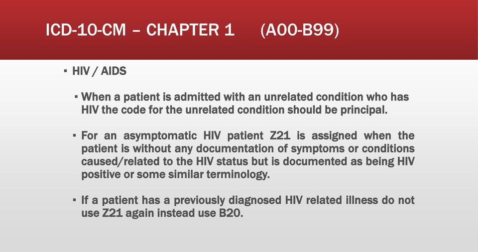 For an asymptomatic HIV patient Z21 is assigned when the patient is without any documentation of symptoms or conditions