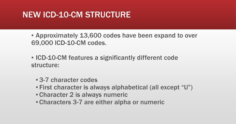 ICD-10-CM features a significantly different code structure: 3-7 character