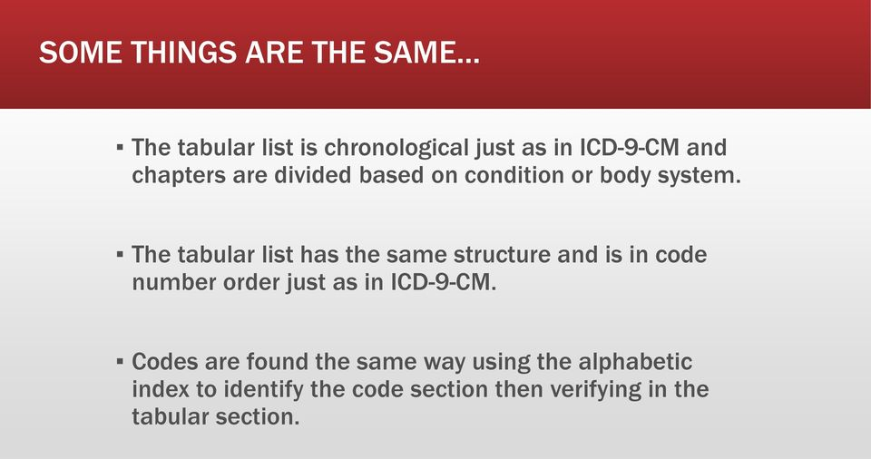 The tabular list has the same structure and is in code number order just as in ICD-9-CM.