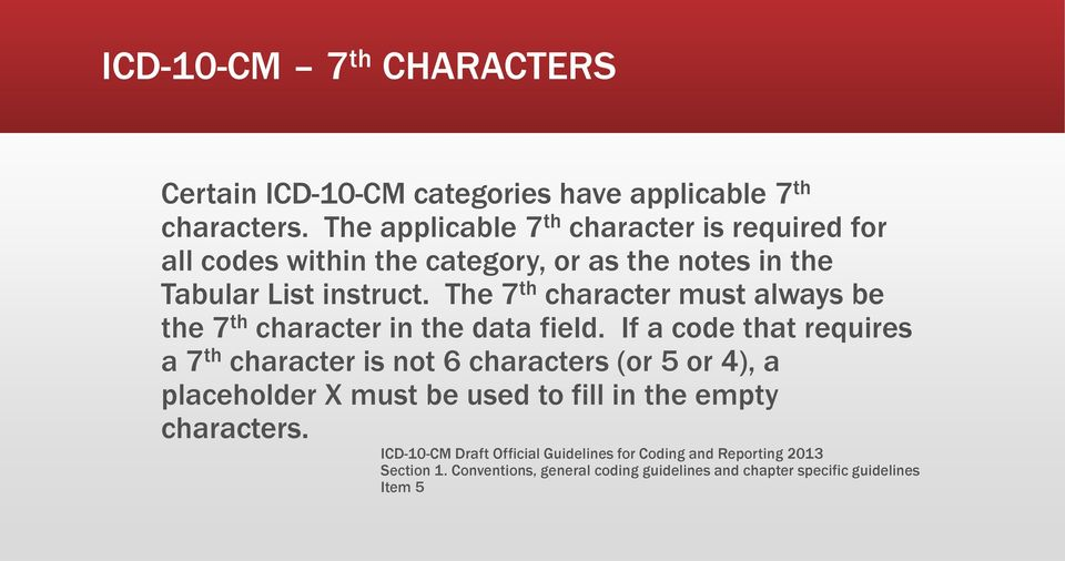 The 7 th character must always be the 7 th character in the data field.