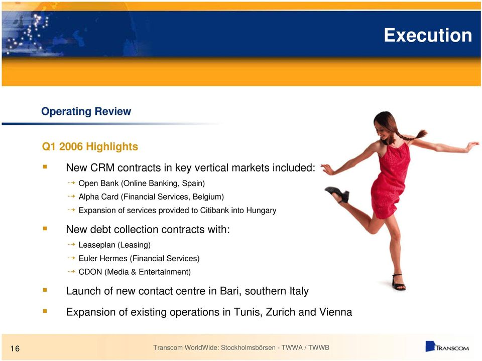 New debt collection contracts with: Leaseplan (Leasing) Euler Hermes (Financial Services) CDON (Media &