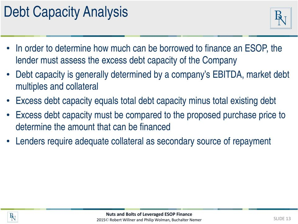 total debt capacity minus total existing debt Excess debt capacity must be compared to the proposed purchase price to determine the amount