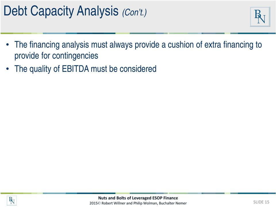 extra financing to provide for contingencies The quality of