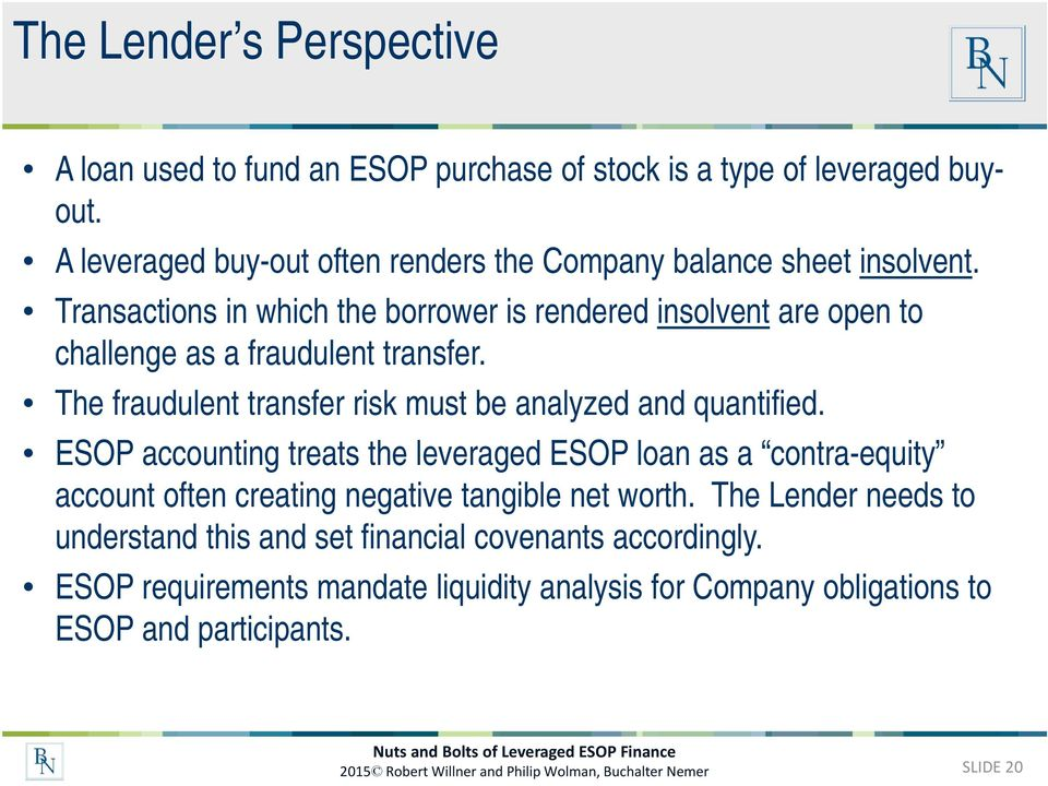 ESOP accounting treats the leveraged ESOP loan as a contra-equity account often creating negative tangible net worth.