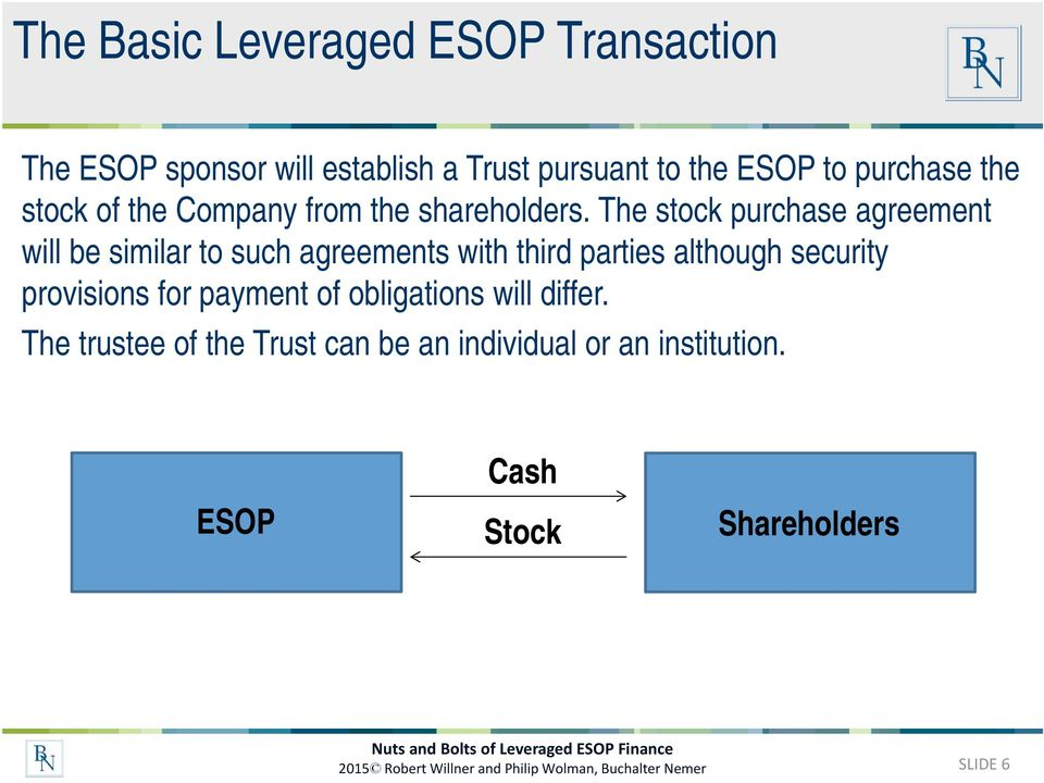 The stock purchase agreement will be similar to such agreements with third parties although security provisions for