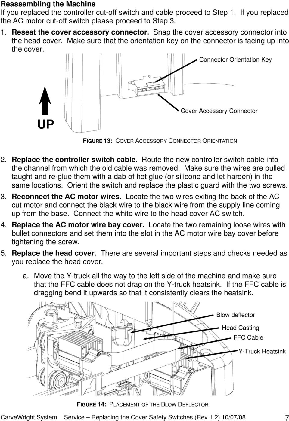 Connector Orientation Key UP Cover Accessory Connector FIGURE 13: COVER ACCESSORY CONNECTOR ORIENTATION 2. Replace the controller switch cable.