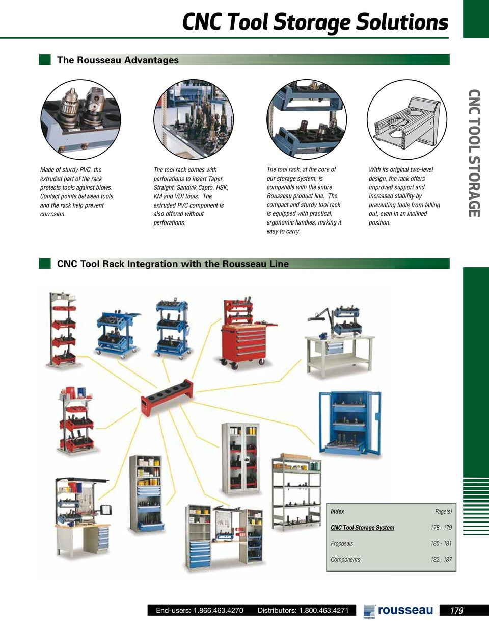 The tool rack, at the core of our storage system, is compatible with the entire Rousseau product line.