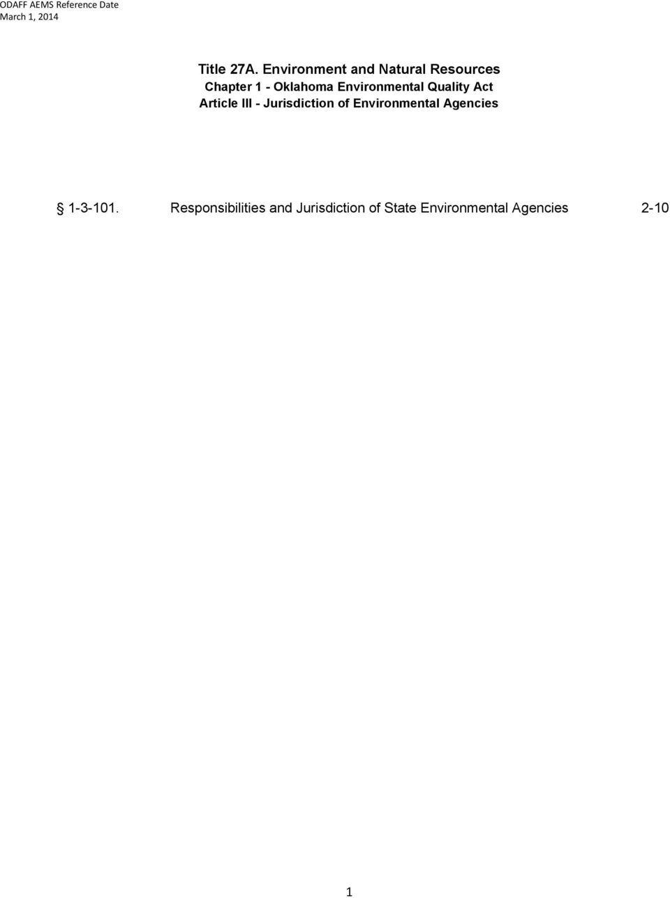 Environmental Quality Act Article III - Jurisdiction of