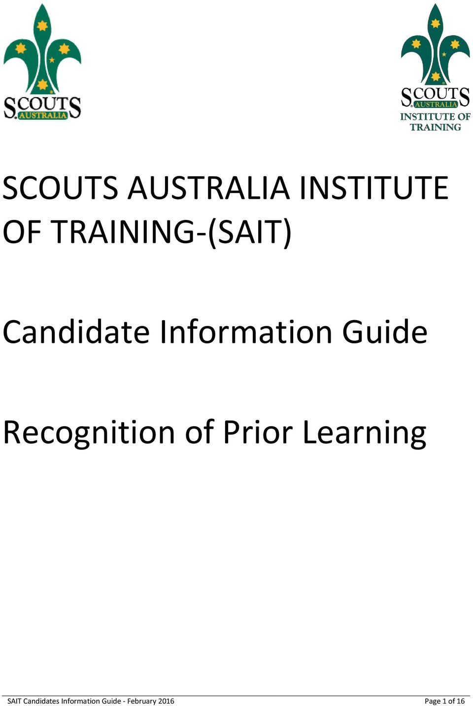 Guide Recognition of Prior Learning SAIT