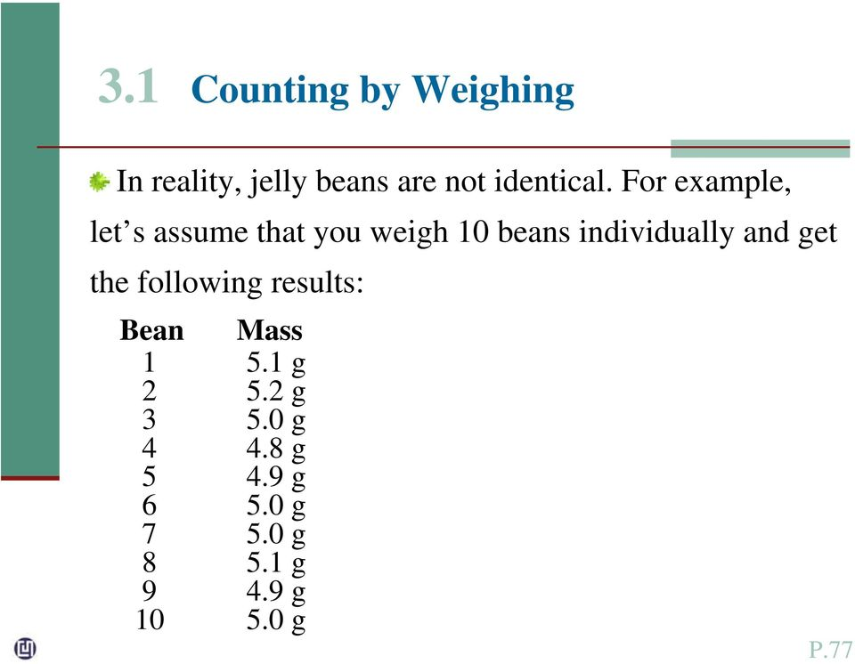 For example, let s assume that you weigh 10 beans individually