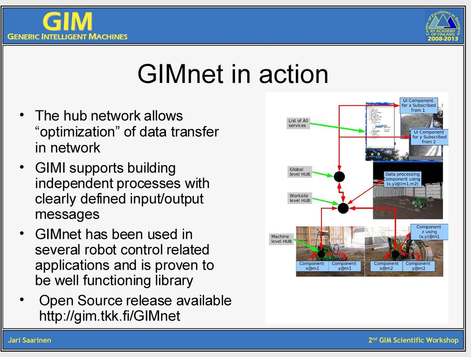 messages GIMnet has been used in several robot control related applications and is