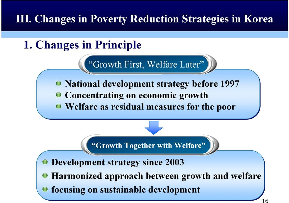 Concentrating on economic growth Welfare as residual measures for the poor Growth Together