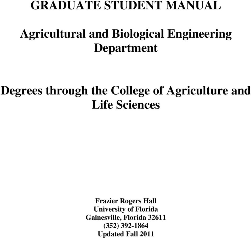 Agriculture and Life Sciences Frazier Rogers Hall