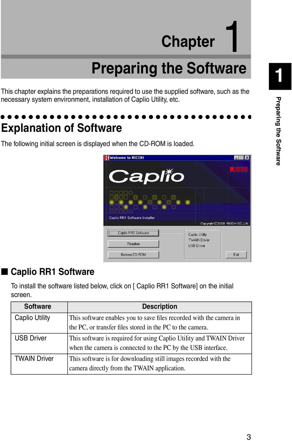 1 1 Preparing the Software Caplio RR1 Software To install the software listed below, click on [ Caplio RR1 Software] on the initial screen.