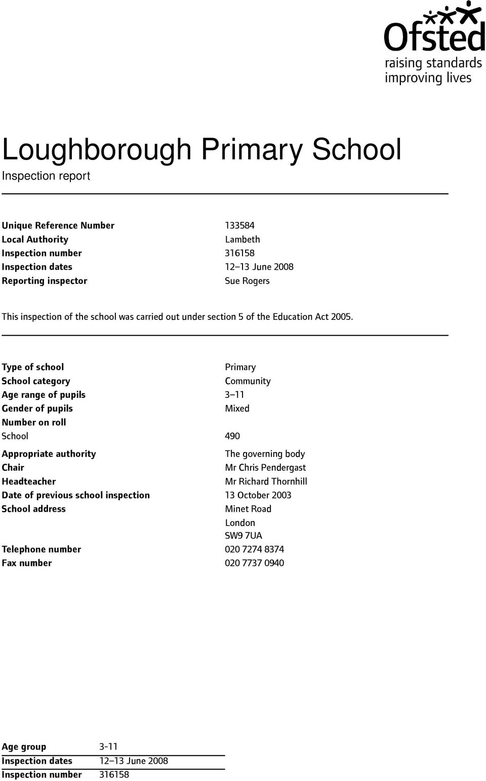 Type of school School category Age range of pupils Gender of pupils Number on roll School Appropriate authority Chair Headteacher Date of previous school inspection School