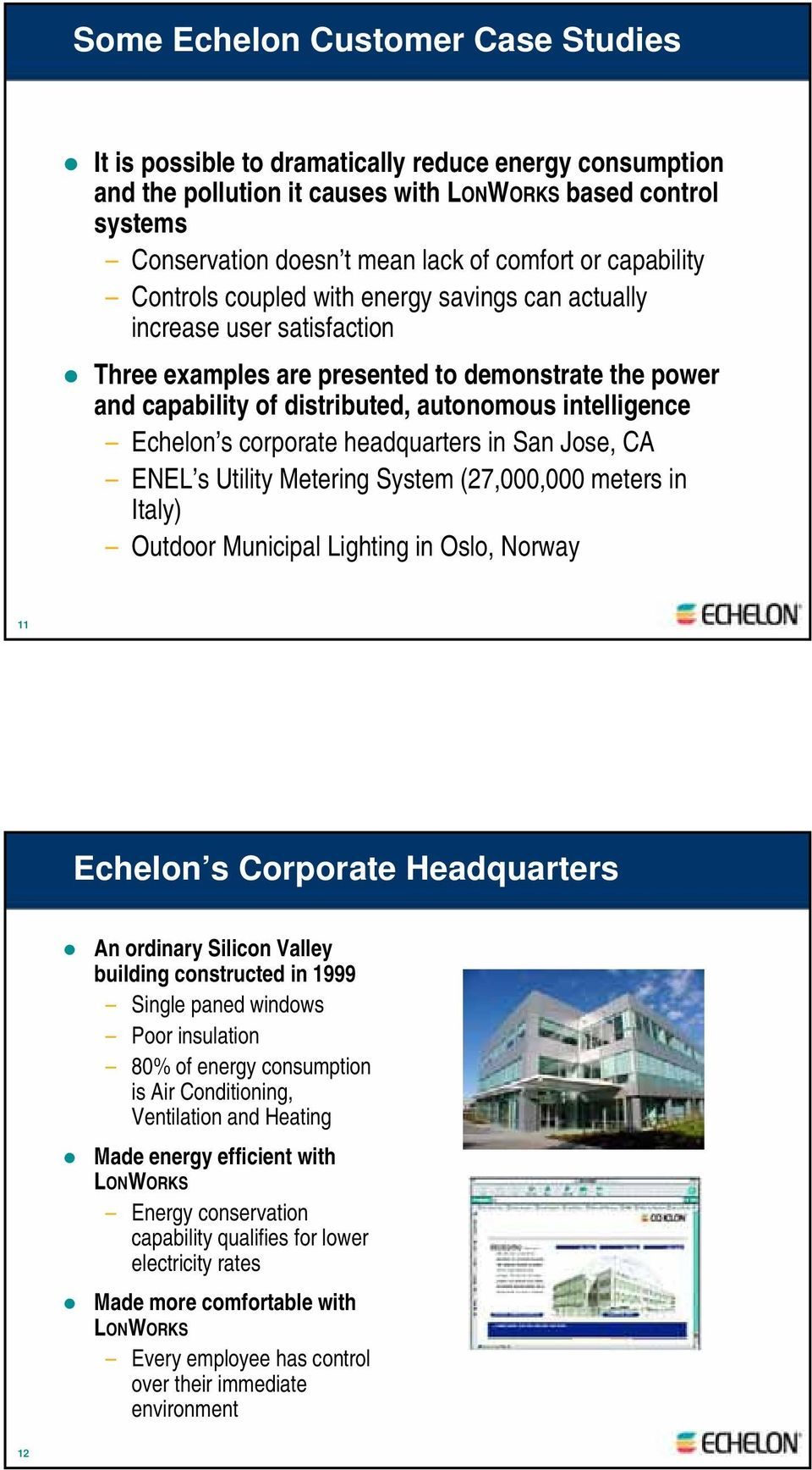 Echelon s corporate headquarters in San Jose, CA ENEL s Utility Metering System (27,000,000 meters in Italy) Outdoor Municipal Lighting in Oslo, Norway 11 Echelon s Corporate Headquarters An ordinary