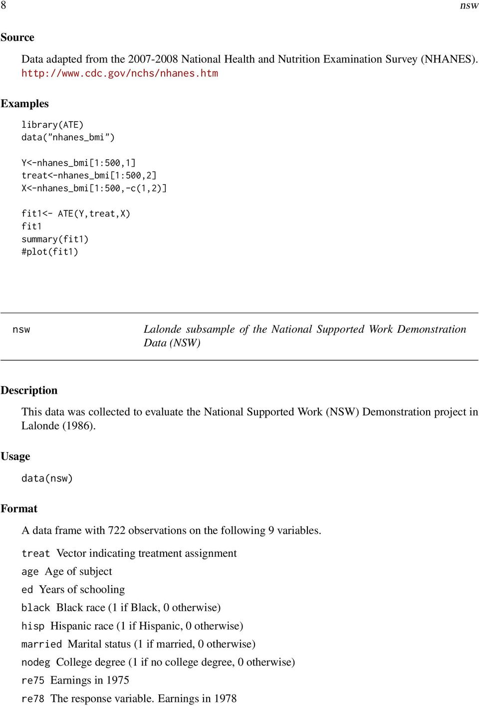 of the National Supported Work Demonstration Data (NSW) Description Usage Format This data was collected to evaluate the National Supported Work (NSW) Demonstration project in Lalonde (1986).