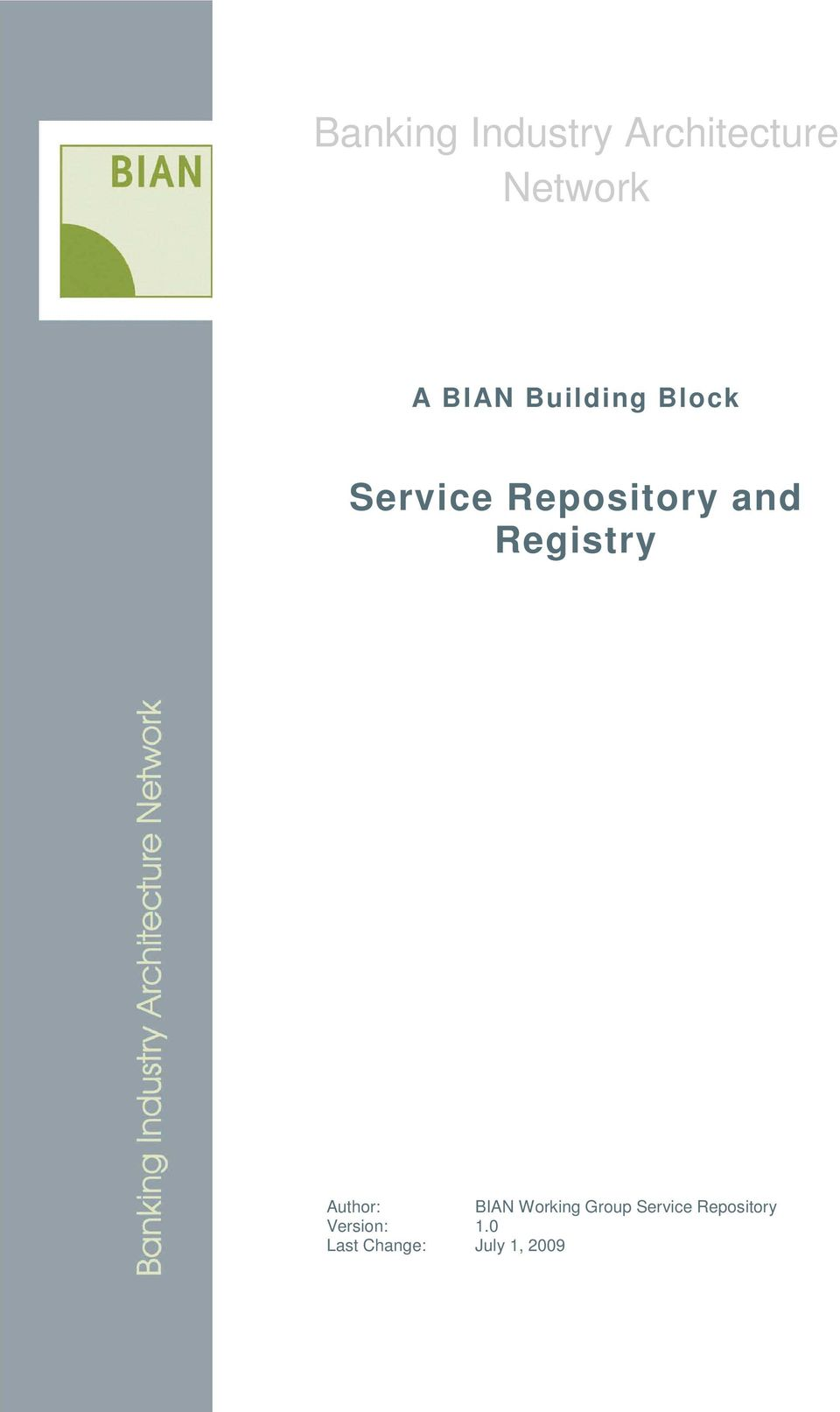 Registry Author: BIAN Working Group
