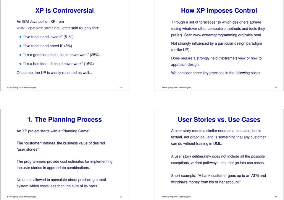 widely resented as well... How XP Imposes Control Through a set of practices to which designers adhere (using whatever other compatible methods and tools they prefer). See: www.extremeprogramming.