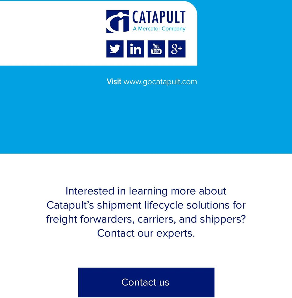Catapult s shipment lifecycle solutions for