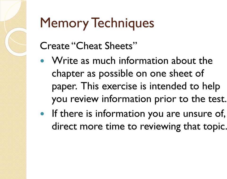 This exercise is intended to help you review information prior to the
