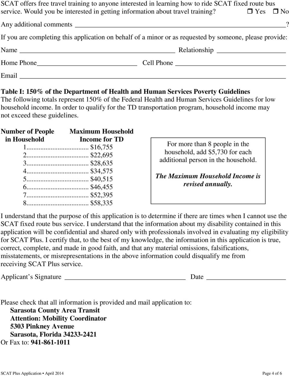 If you are completing this application on behalf of a minor or as requested by someone, please provide: Name Relationship Home Phone Cell Phone Email Table I: 150% of the Department of Health and