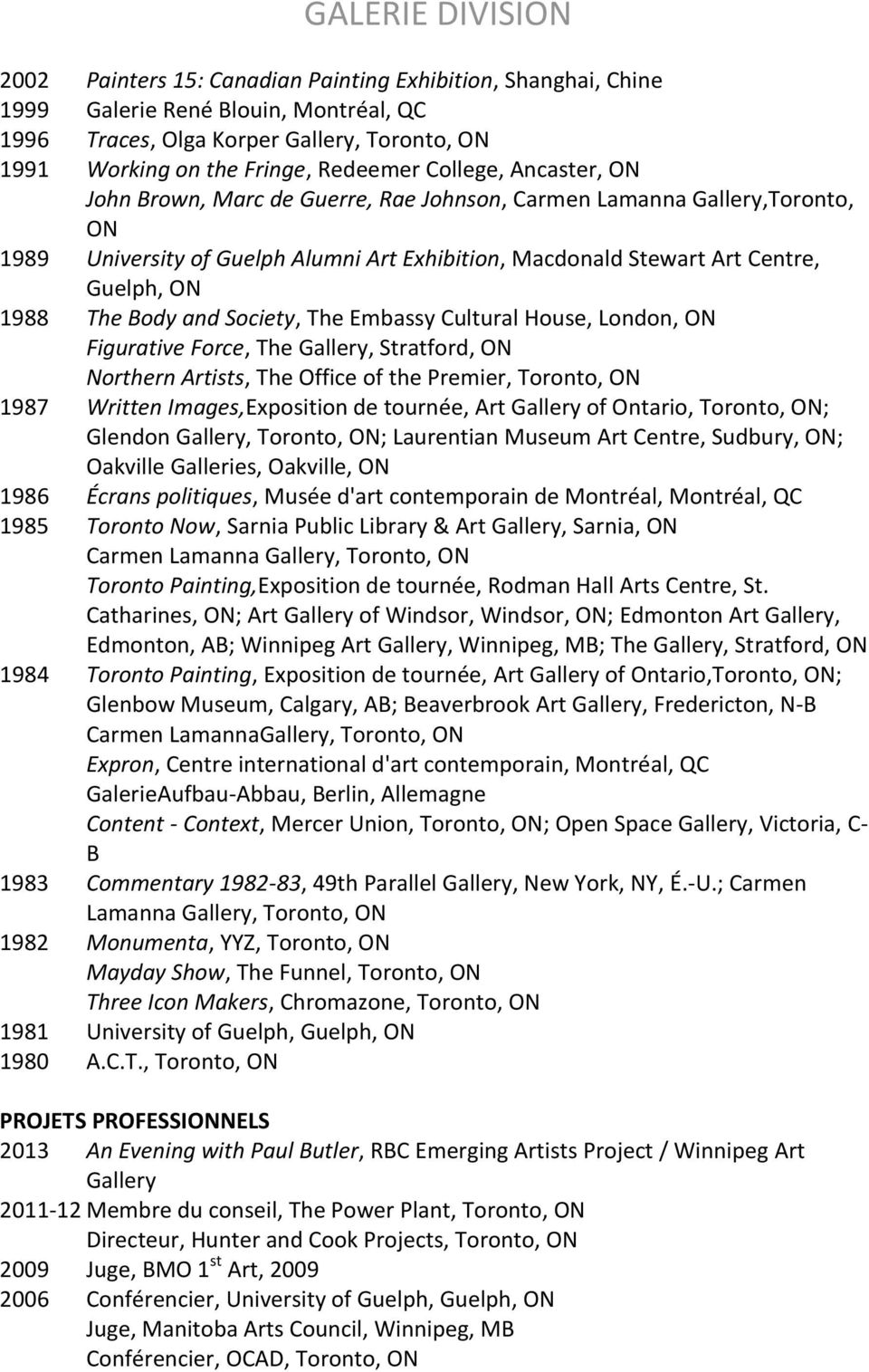 Society, The Embassy Cultural House, London, ON Figurative Force, The Gallery, Stratford, ON Northern Artists, The Office of the Premier, Toronto, ON 1987 Written Images,Exposition de tournée, Art