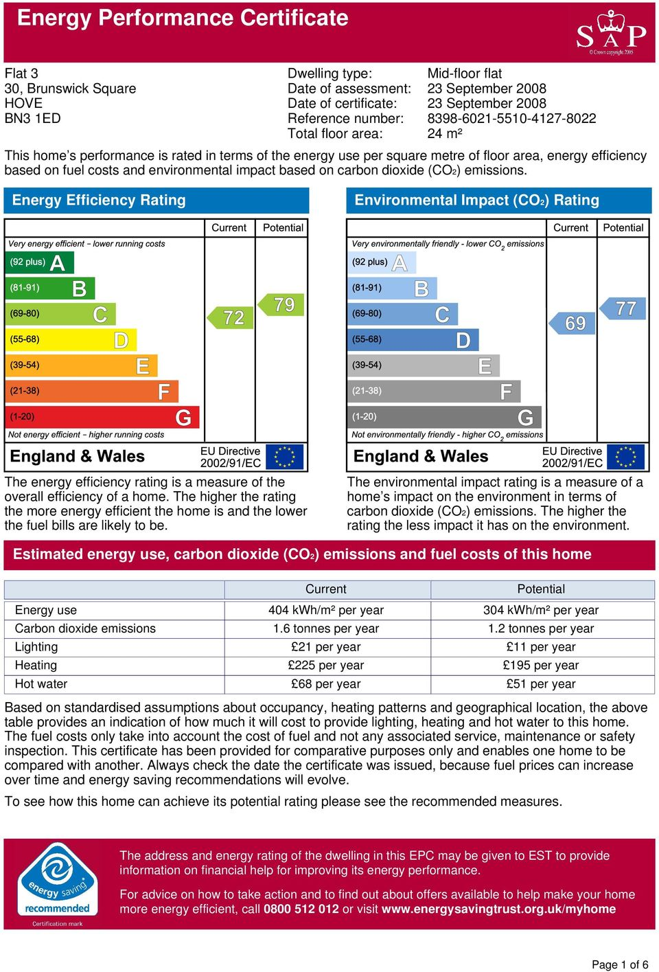 impact based on carbon dioxide (CO2) emissions. Energy Efficiency Rating Environmental Impact (CO2) Rating The energy efficiency rating is a measure of the overall efficiency of a home.