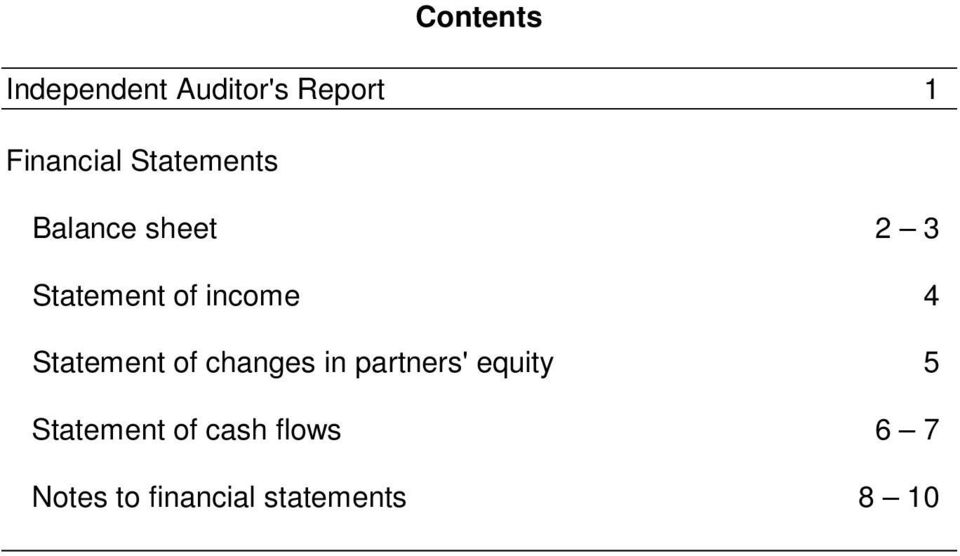 Statement of changes in partners' equity 5