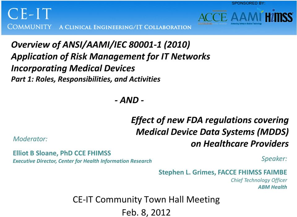 Health Information Research Effect of new FDA regulations covering Medical Device Data Systems (MDDS) on Healthcare