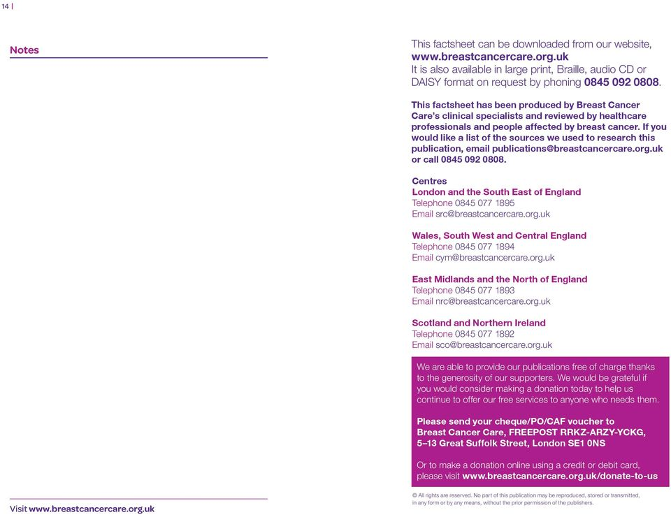 If you would like a list of the sources we used to research this publication, email publications@breastcancercare.org.uk or call 0845 092 0808.
