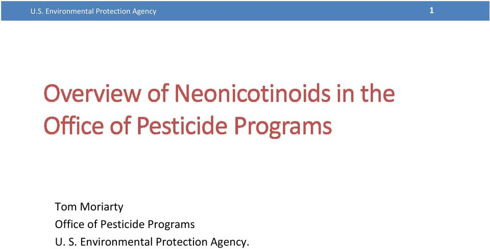 of Pesticide Programs U. S.