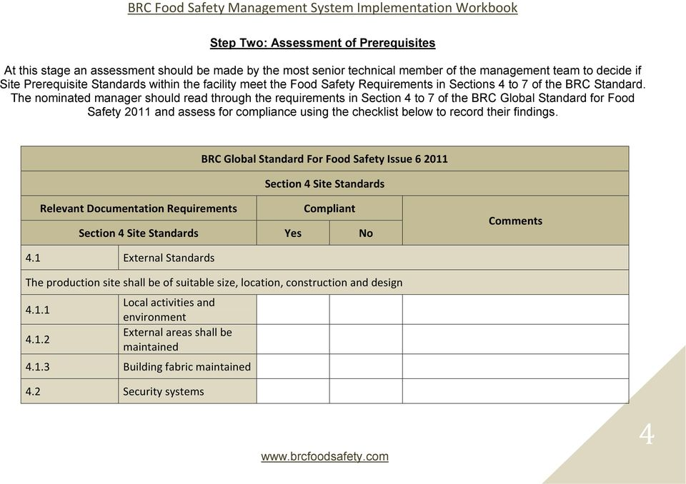 The nominated manager should read through the requirements in Section 4 to 7 of the BRC Global Standard for Food Safety 2011 and assess for compliance using the checklist below to record their