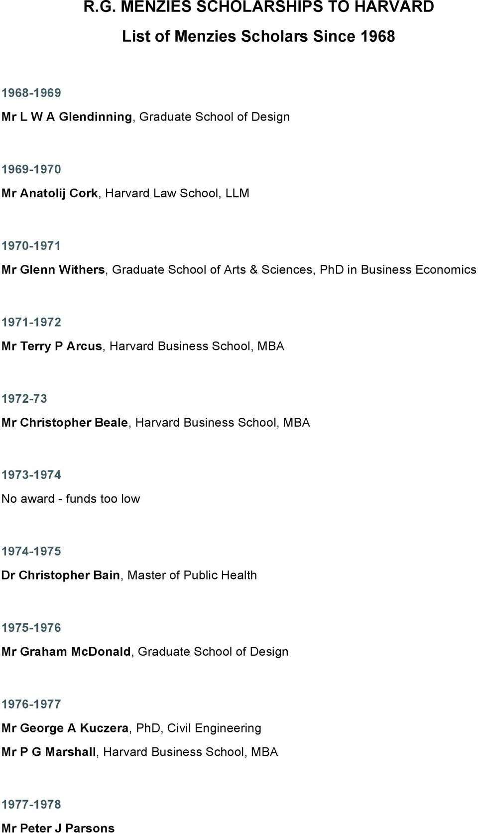 School, MBA 1972-73 Mr Christopher Beale, Harvard Business School, MBA 1973-1974 No award - funds too low 1974-1975 Dr Christopher Bain, Master of Public Health