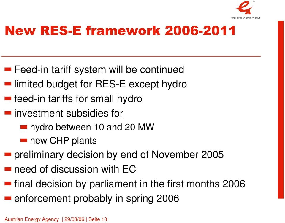 plants preliminary decision by end of November 2005 need of discussion with EC final decision by