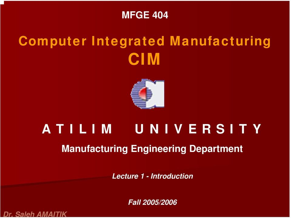 Manufacturing Engineering Department