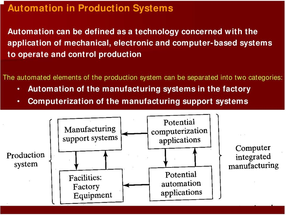 production The automated elements of the production system can be separated into two categories: