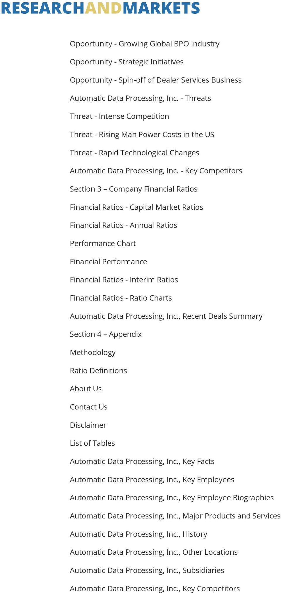 - Key Competitors Section 3 Company Financial Ratios Financial Ratios - Capital Market Ratios Financial Ratios - Annual Ratios Performance Chart Financial Performance Financial Ratios - Interim