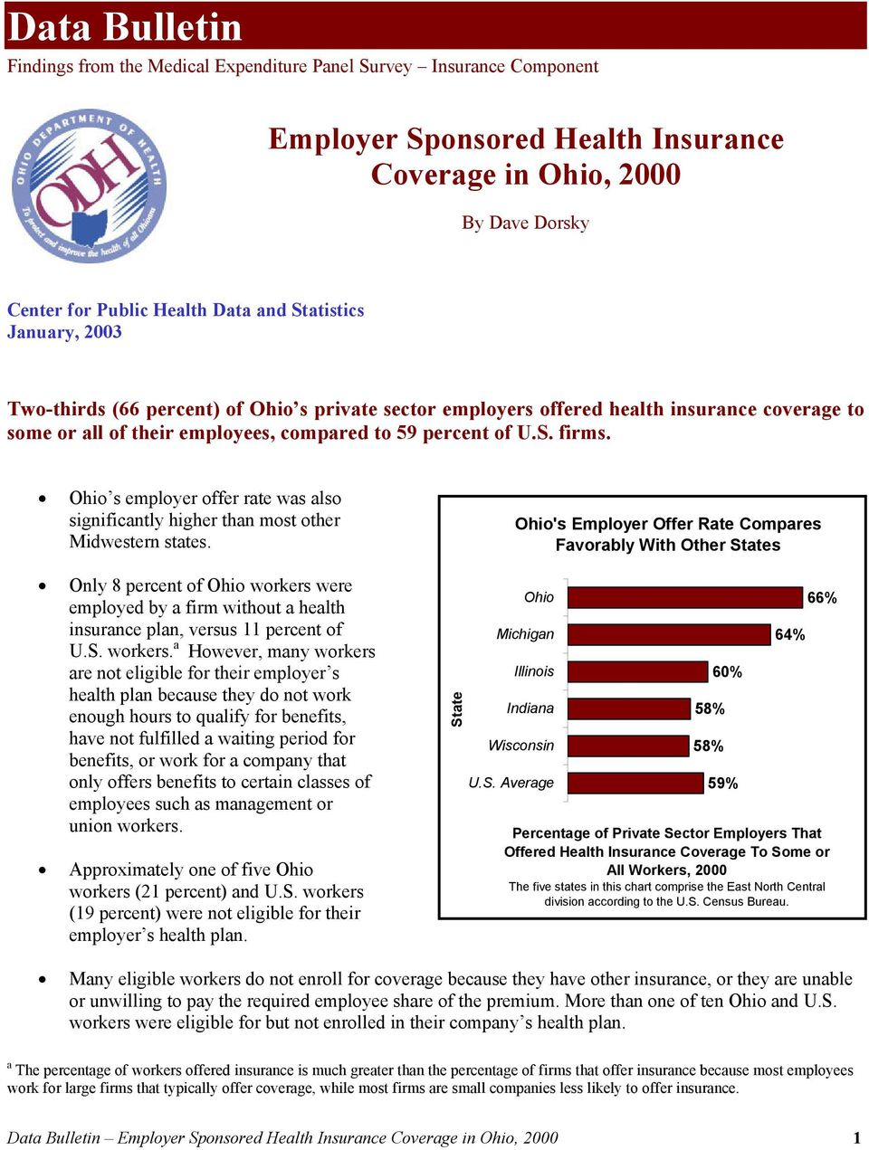 Ohio s employer offer rate was also significantly higher than most other Midwestern states.