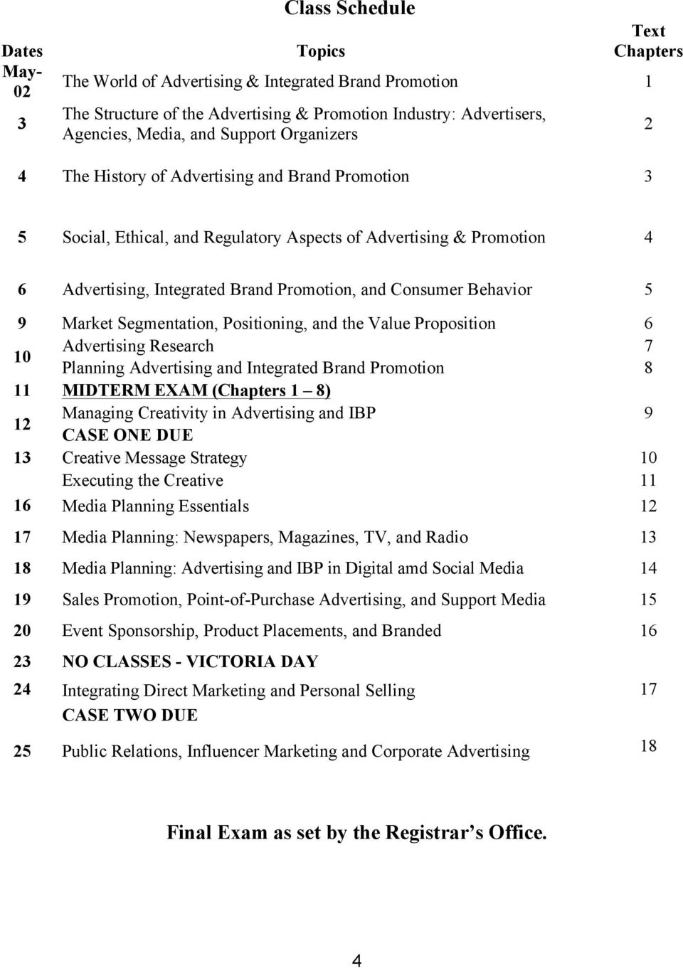 Behavior 5 9 Market Segmentation, Positioning, and the Value Proposition 6 10 Advertising Research 7 Planning Advertising and Integrated Brand Promotion 8 11 MIDTERM EXAM (Chapters 1 8) 12 Managing