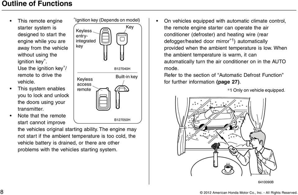 Note that the remote start cannot improve * Ignition key (Depends on model) Key Keyless entryintegrated key Keyless access remote B127040H Built-in key B127050H the vehicles original starting ability.