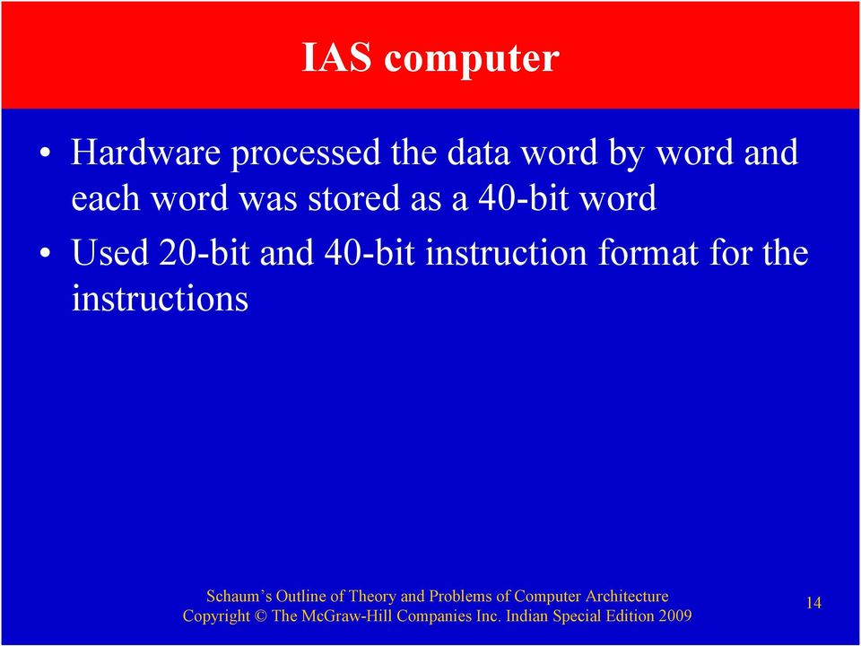 a 40-bit word Used 20-bit and 40-bit