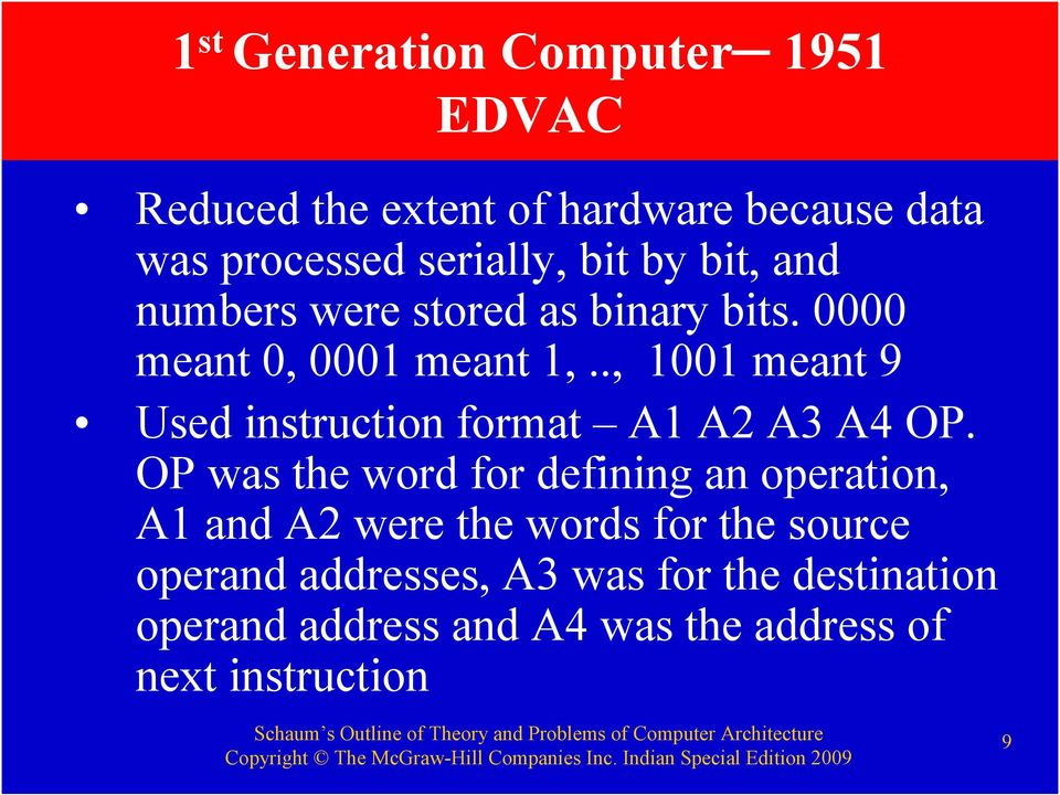 ., 1001 meant 9 Used instruction format A1 A2 A3 A4 OP.