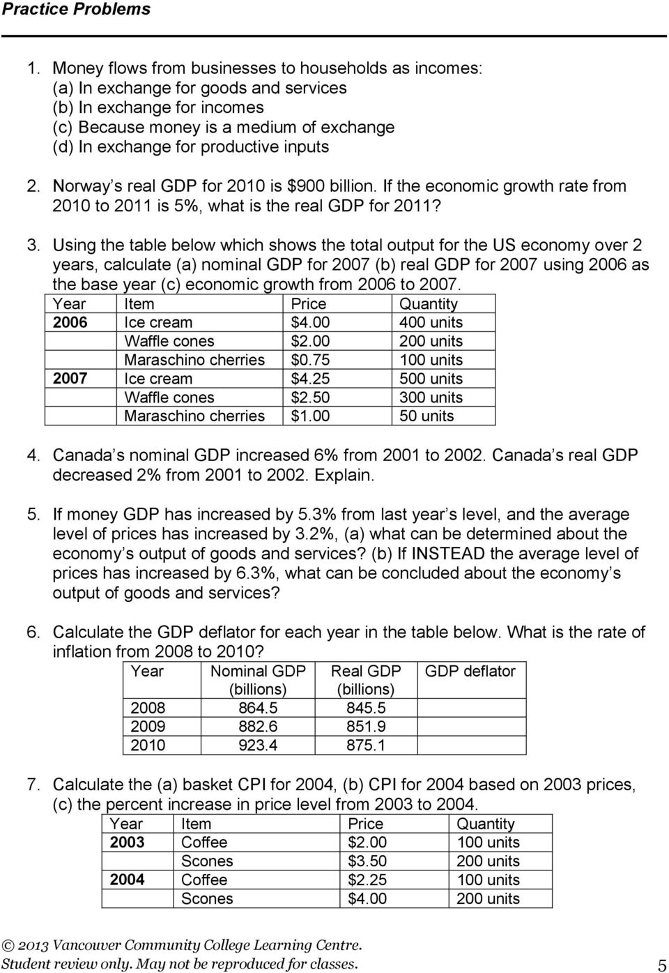inputs 2. Norway s real GDP for 2010 is $900 billion. If the economic growth rate from 2010 to 2011 is 5%, what is the real GDP for 2011? 3.