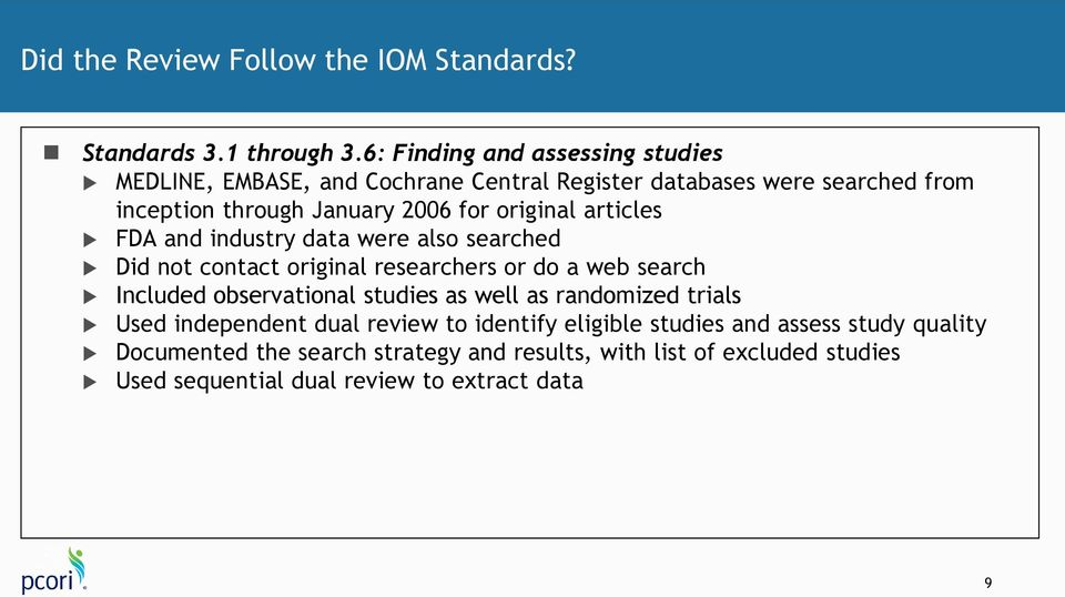 original articles FDA and industry data were also searched Did not contact original researchers or do a web search Included observational studies