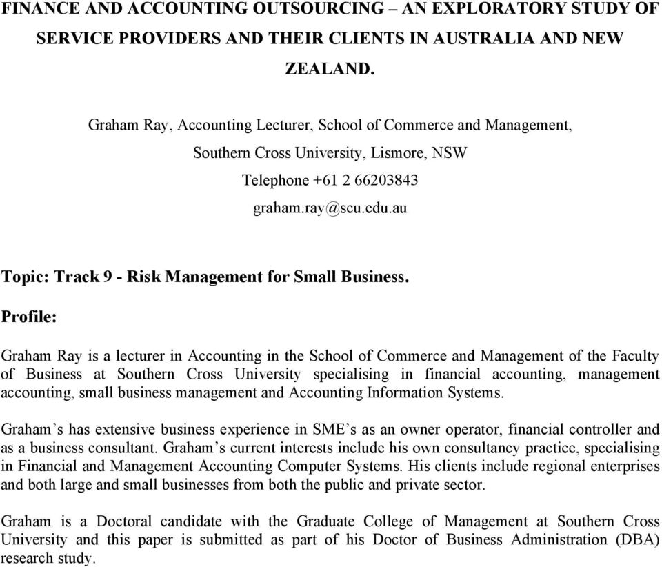 au Topic: Track 9 - Risk Management for Small Business.