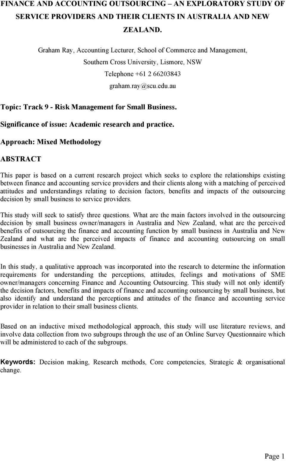 au Topic: Track 9 - Risk Management for Small Business. Significance of issue: Academic research and practice.