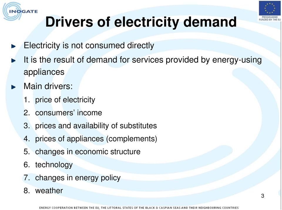 price of electricity 2. consumers income 3. prices and availability of substitutes 4.